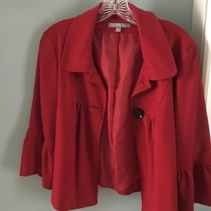 NY COLLECTION Red Jacket Top Medium